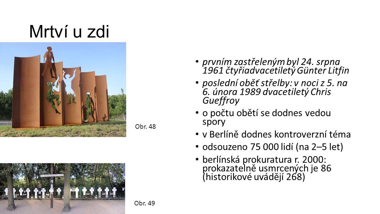 Mrtví u zdi prvním zastřeleným byl 24. srpna 1961 čtyřiadvacetiletý Günter Litfin poslední oběť střelby: v noci z 5. na 6. února 1989 dvacetiletý Chri