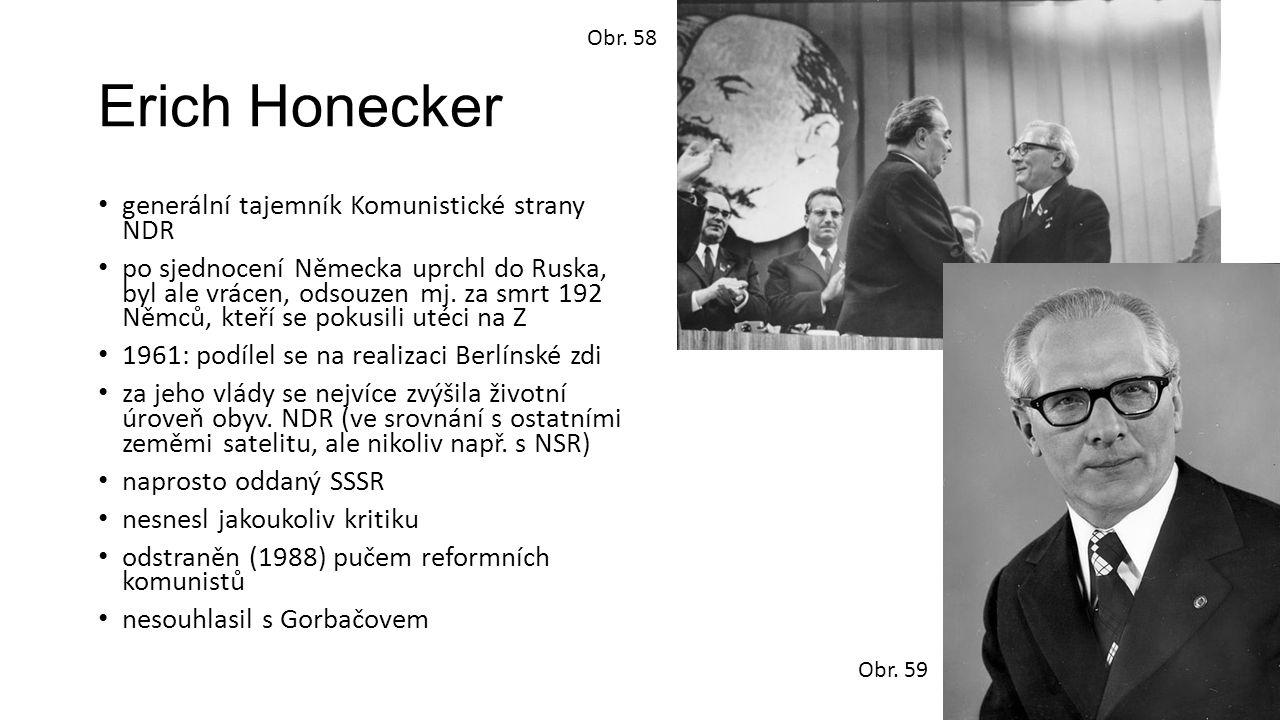 Erich Honecker generální tajemník Komunistické strany NDR po sjednocení Německa uprchl do Ruska, byl ale vrácen, odsouzen mj.