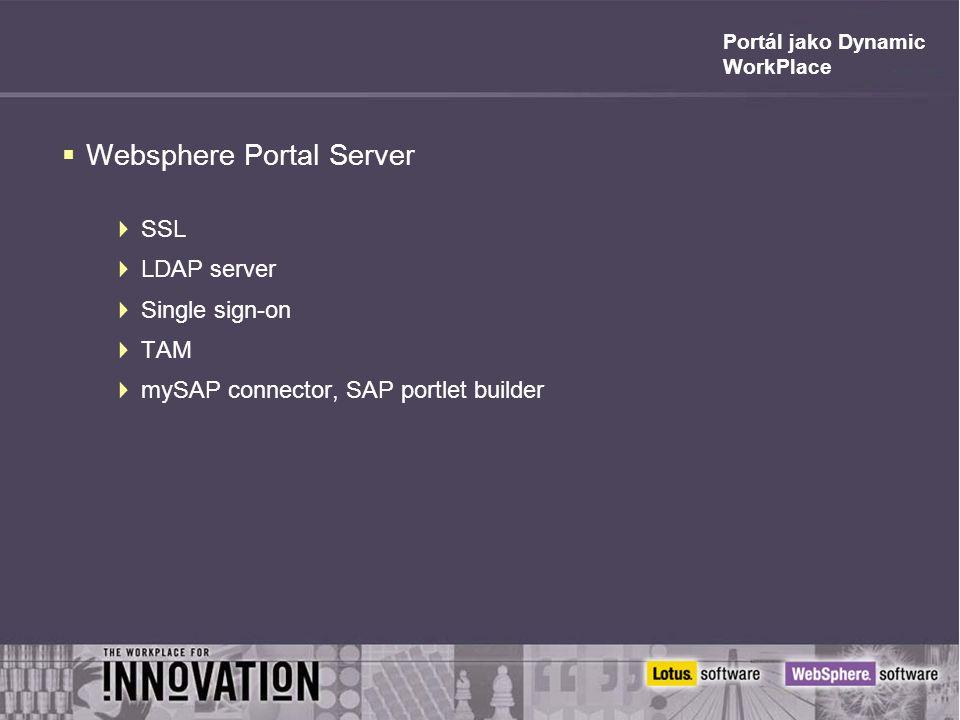 Portál jako Dynamic WorkPlace  Websphere Portal Server  SSL  LDAP server  Single sign-on  TAM  mySAP connector, SAP portlet builder