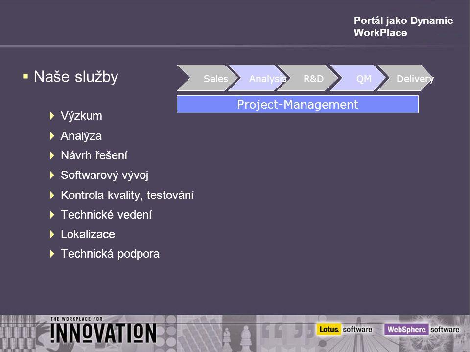 Portál jako Dynamic WorkPlace  Naše služby  Výzkum  Analýza  Návrh řešení  Softwarový vývoj  Kontrola kvality, testování  Technické vedení  Lokalizace  Technická podpora Sales Analysis R&D QM Project-Management Delivery