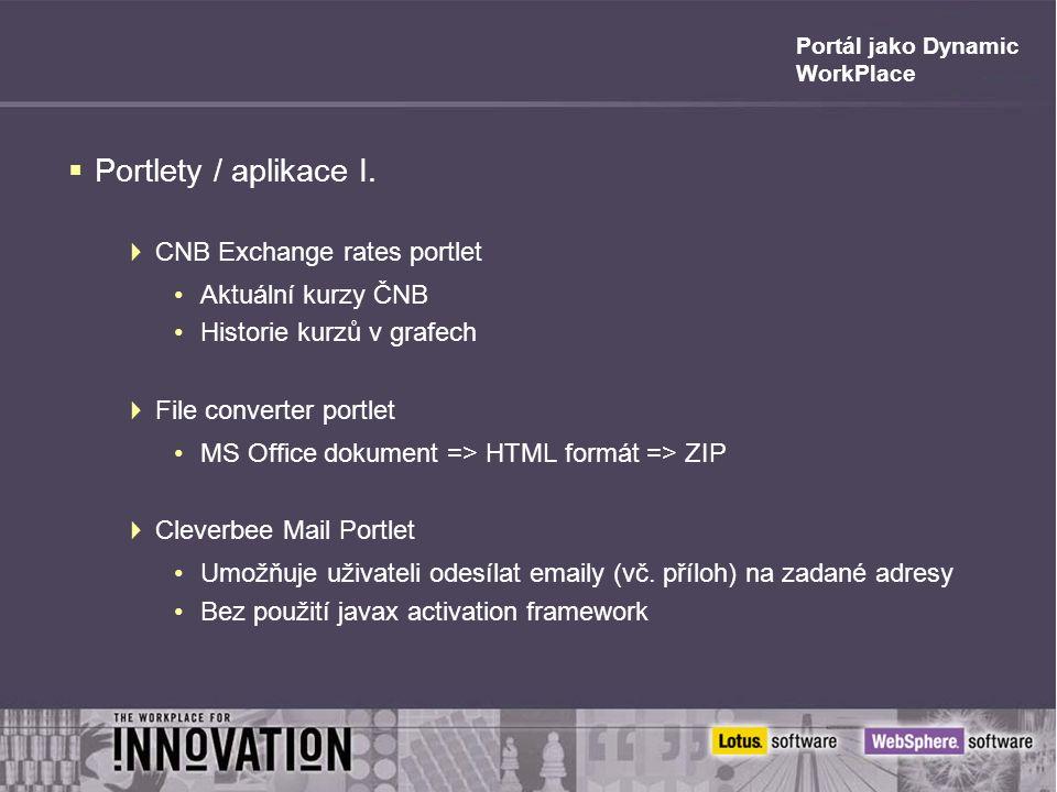 Portál jako Dynamic WorkPlace  Portlety / aplikace I.  CNB Exchange rates portlet Aktuální kurzy ČNB Historie kurzů v grafech  File converter portl
