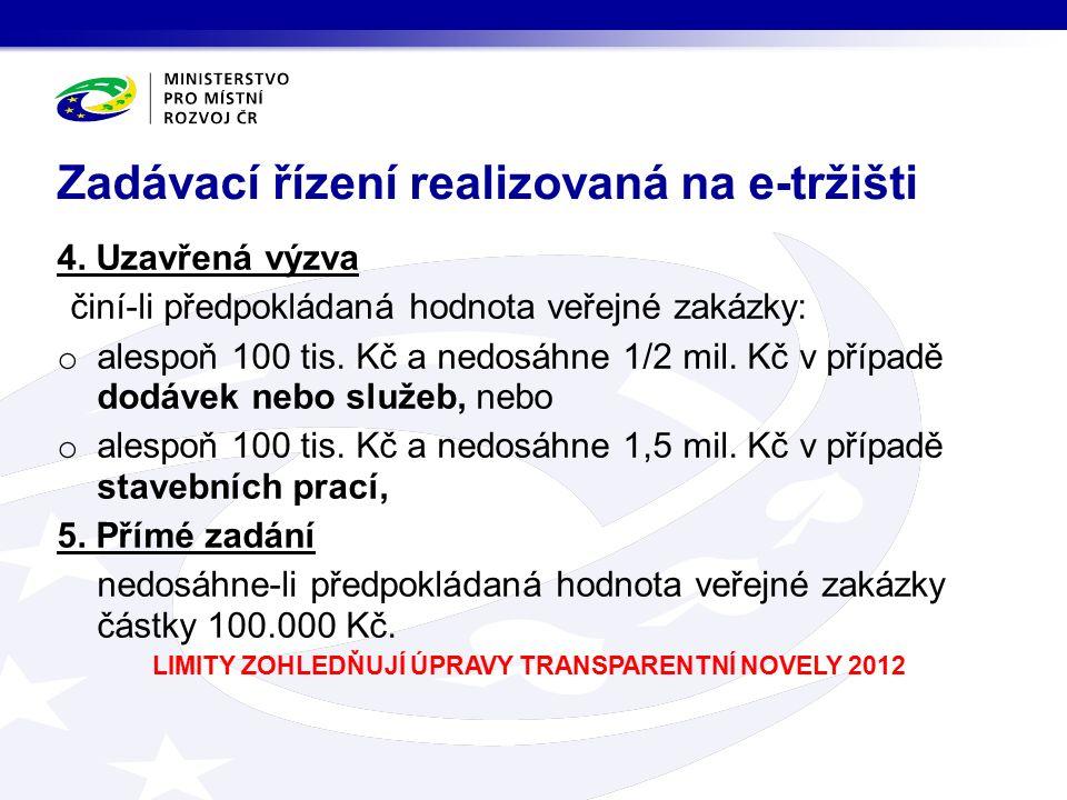 4. Uzavřená výzva činí-li předpokládaná hodnota veřejné zakázky: o alespoň 100 tis.
