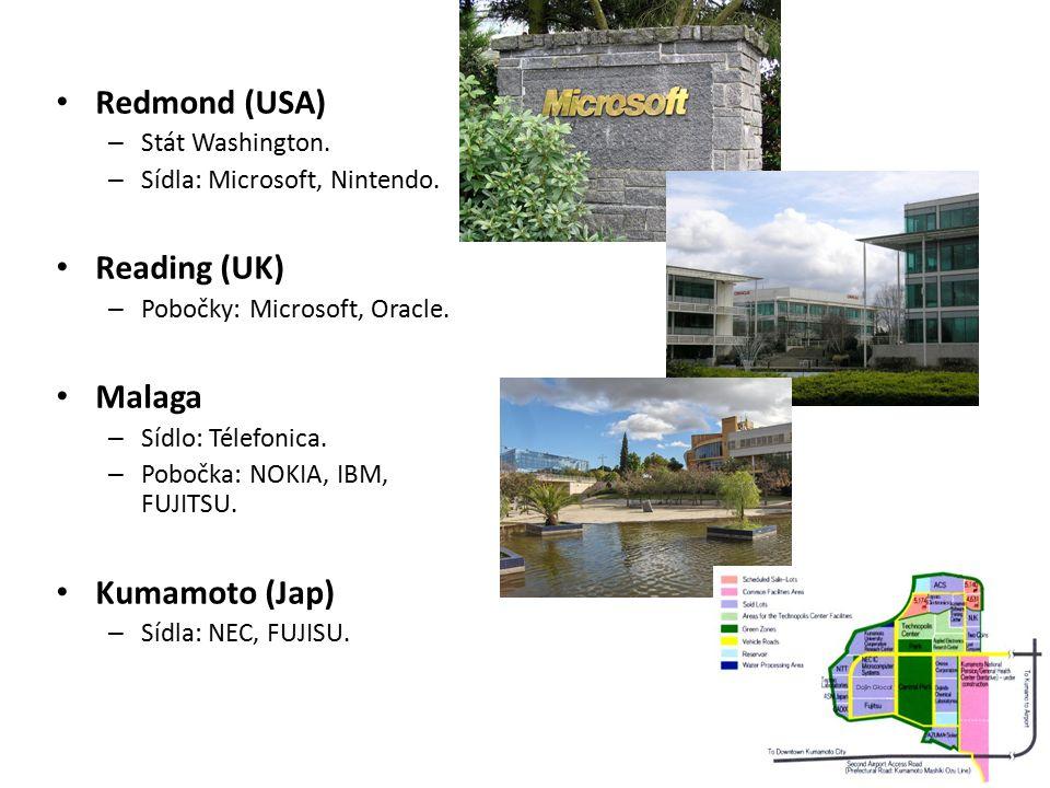 Redmond (USA) – Stát Washington. – Sídla: Microsoft, Nintendo. Reading (UK) – Pobočky: Microsoft, Oracle. Malaga – Sídlo: Télefonica. – Pobočka: NOKIA