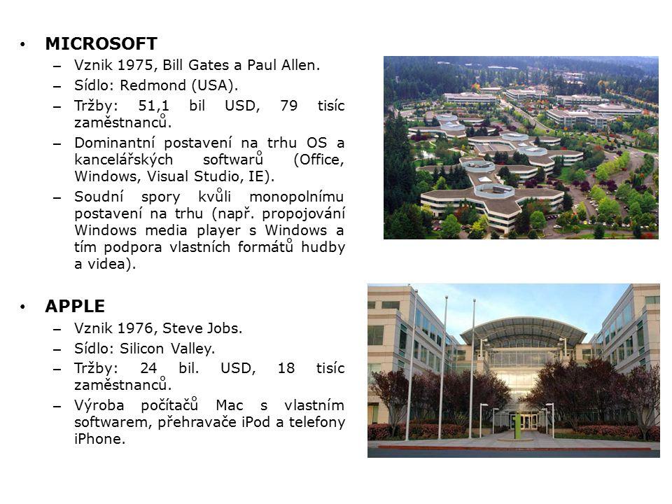 MICROSOFT – Vznik 1975, Bill Gates a Paul Allen. – Sídlo: Redmond (USA). – Tržby: 51,1 bil USD, 79 tisíc zaměstnanců. – Dominantní postavení na trhu O