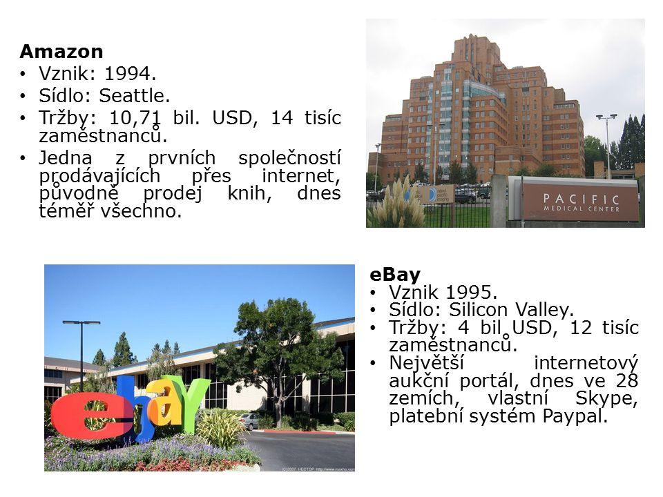 Amazon Vznik: 1994. Sídlo: Seattle. Tržby: 10,71 bil. USD, 14 tisíc zaměstnanců. Jedna z prvních společností prodávajících přes internet, původně prod