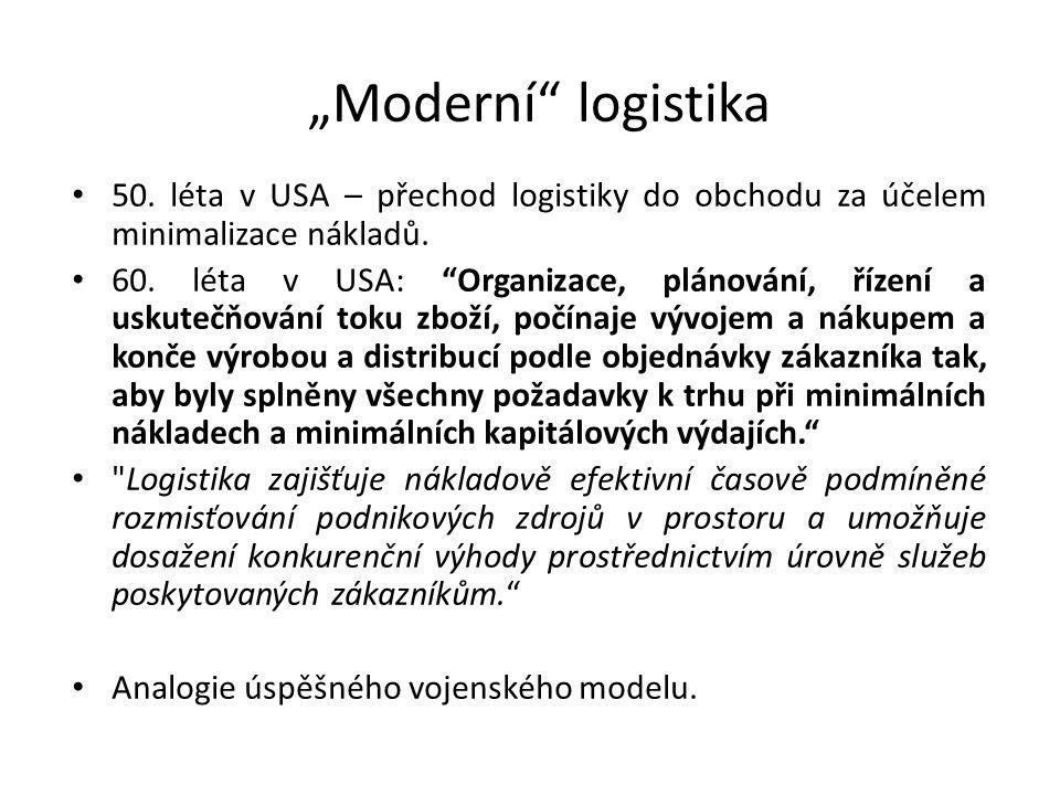 """50. léta v USA – přechod logistiky do obchodu za účelem minimalizace nákladů. 60. léta v USA: """"Organizace, plánování, řízení a uskutečňování toku zbož"""