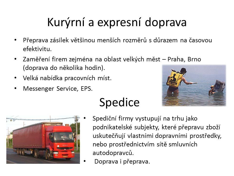Kurýrní a expresní doprava Přeprava zásilek většinou menších rozměrů s důrazem na časovou efektivitu. Zaměření firem zejména na oblast velkých měst –
