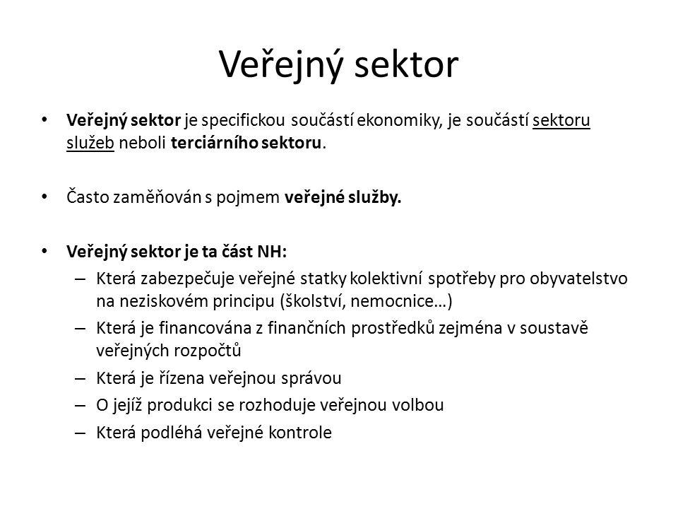 Veřejný sektor Veřejný sektor je specifickou součástí ekonomiky, je součástí sektoru služeb neboli terciárního sektoru. Často zaměňován s pojmem veřej