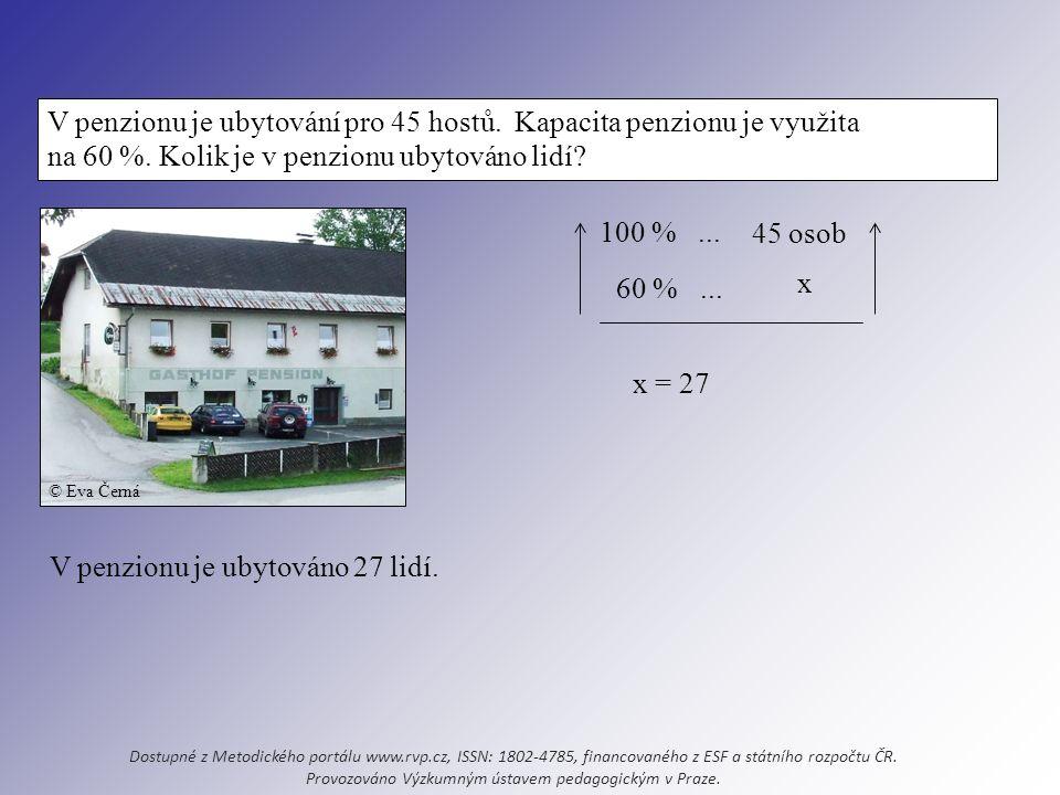 V penzionu je ubytování pro 45 hostů. Kapacita penzionu je využita na 60 %.
