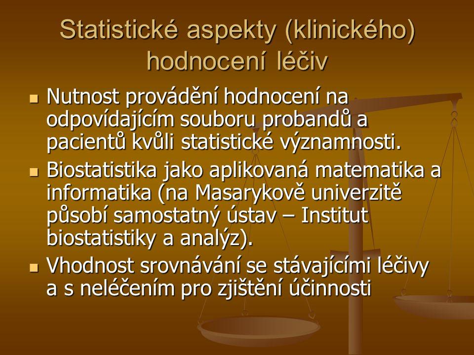 Statistické aspekty (klinického) hodnocení léčiv Nutnost provádění hodnocení na odpovídajícím souboru probandů a pacientů kvůli statistické významnosti.