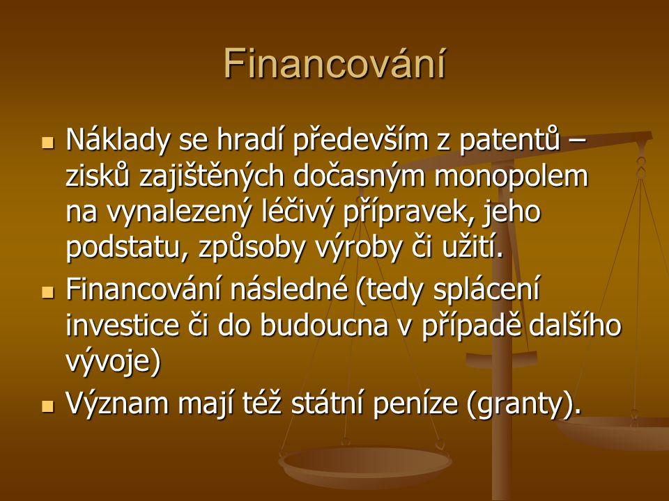 Financování Náklady se hradí především z patentů – zisků zajištěných dočasným monopolem na vynalezený léčivý přípravek, jeho podstatu, způsoby výroby či užití.