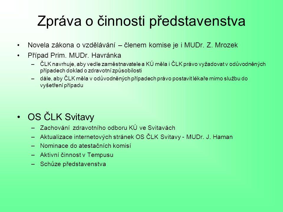 Zpráva o činnosti představenstva Novela zákona o vzdělávání – členem komise je i MUDr.