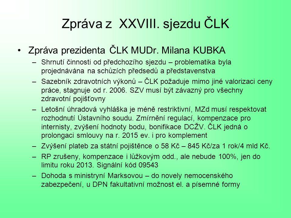 Zpráva z XXVIII. sjezdu ČLK Zpráva prezidenta ČLK MUDr.
