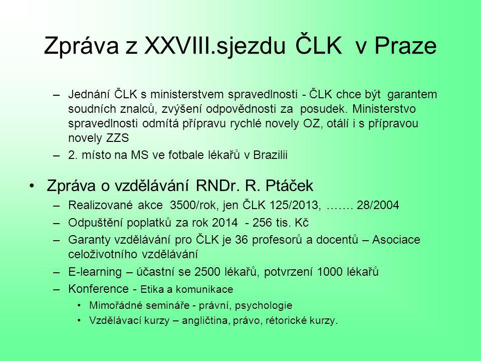 Zpráva z XXVIII.sjezdu ČLK v Praze –Jednání ČLK s ministerstvem spravedlnosti - ČLK chce být garantem soudních znalců, zvýšení odpovědnosti za posudek.