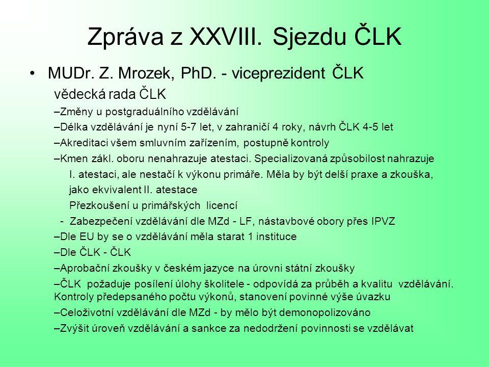 Zpráva z XXVIII. Sjezdu ČLK MUDr. Z. Mrozek, PhD.