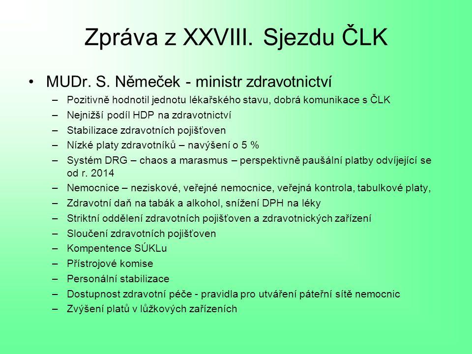 Zpráva z XXVIII.Sjezdu ČLK MUDr. S.