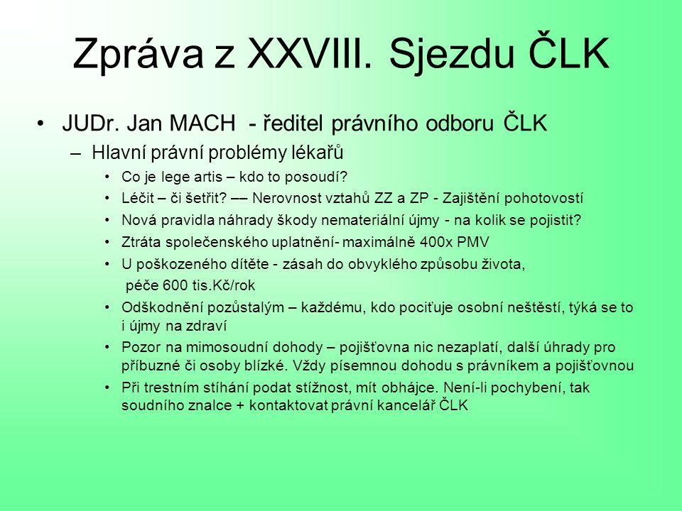 Zpráva z XXVIII. Sjezdu ČLK JUDr.