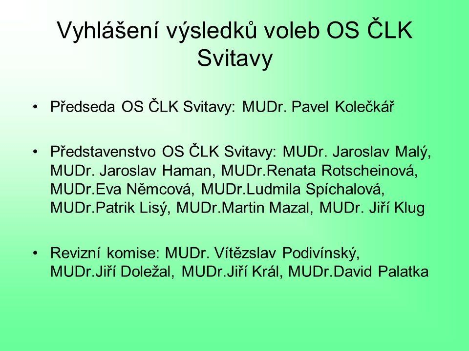 Vyhlášení výsledků voleb OS ČLK Svitavy Předseda OS ČLK Svitavy: MUDr.