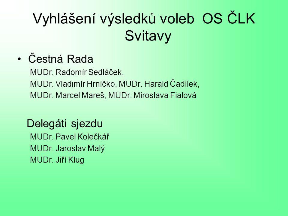 Vyhlášení výsledků voleb OS ČLK Svitavy Čestná Rada MUDr.