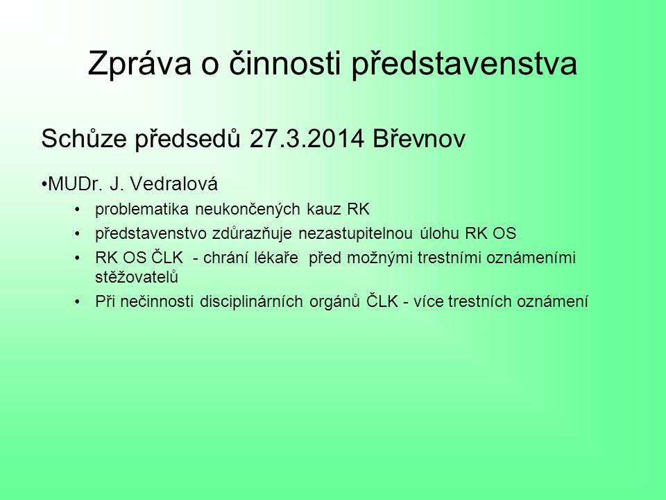 Zpráva o činnosti představenstva Schůze předsedů 27.3.2014 Břevnov MUDr.