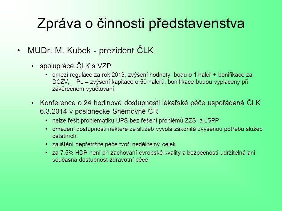 Zpráva o činnosti představenstva MUDr. M.