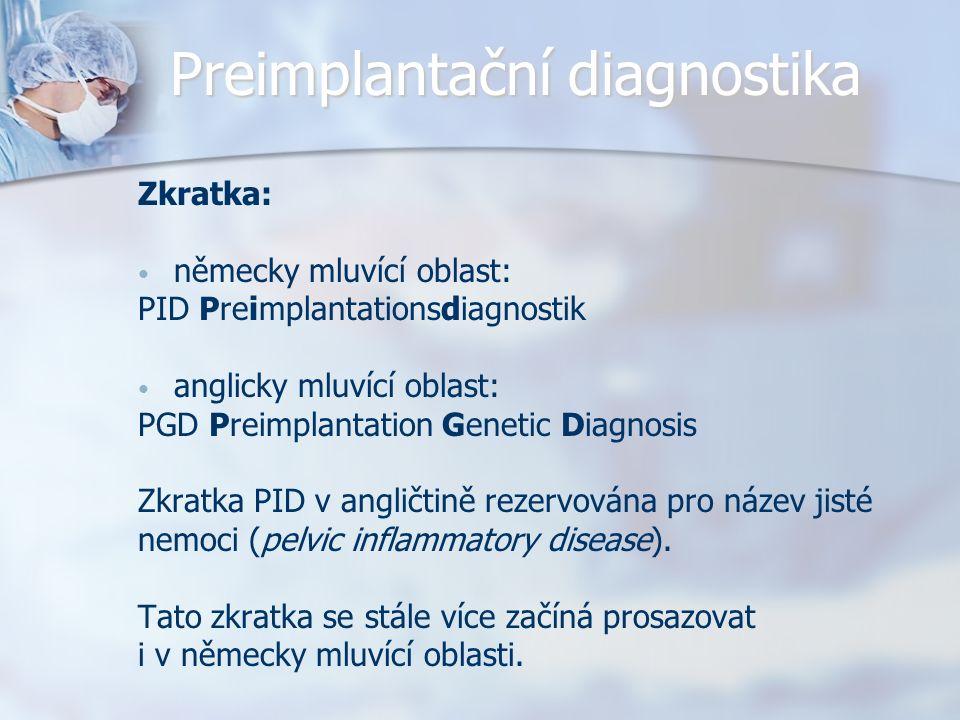 Preimplantační diagnostika Zkratka: německy mluvící oblast: PID Preimplantationsdiagnostik anglicky mluvící oblast: PGD Preimplantation Genetic Diagnosis Zkratka PID v angličtině rezervována pro název jisté nemoci (pelvic inflammatory disease).