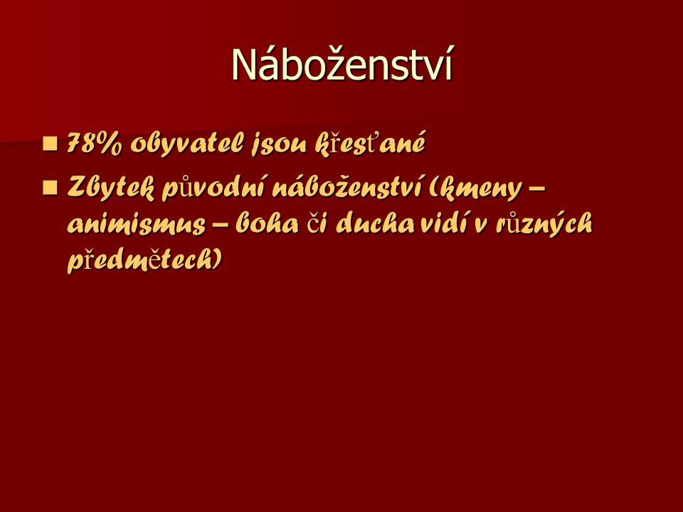 Náboženství 78% obyvatel jsou k ř es ť ané 78% obyvatel jsou k ř es ť ané Zbytek p ů vodní náboženství (kmeny – animismus – boha č i ducha vidí v r ů