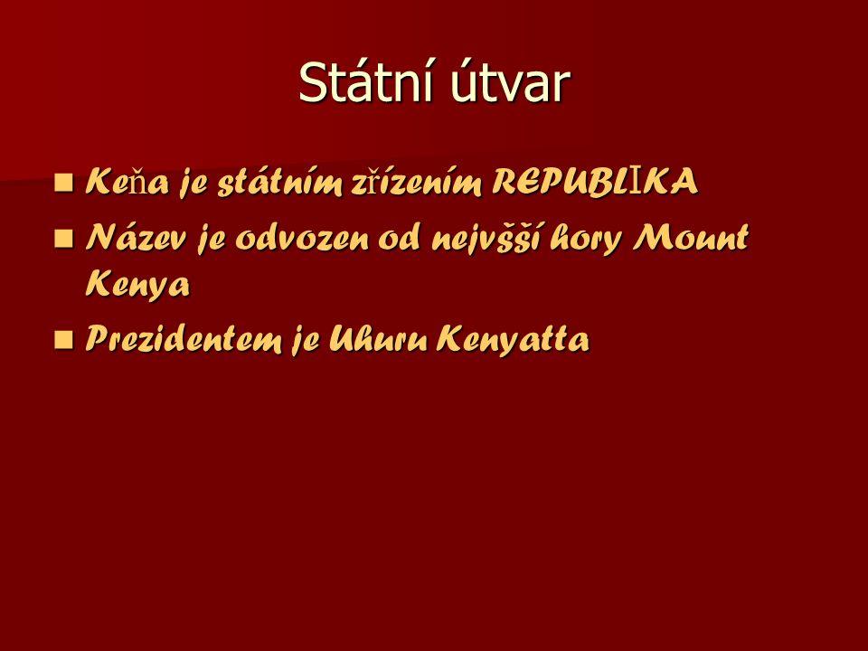 Státní útvar Ke ň a je státním z ř ízením REPUBL I KA Ke ň a je státním z ř ízením REPUBL I KA Název je odvozen od nejvšší hory Mount Kenya Název je odvozen od nejvšší hory Mount Kenya Prezidentem je Uhuru Kenyatta Prezidentem je Uhuru Kenyatta