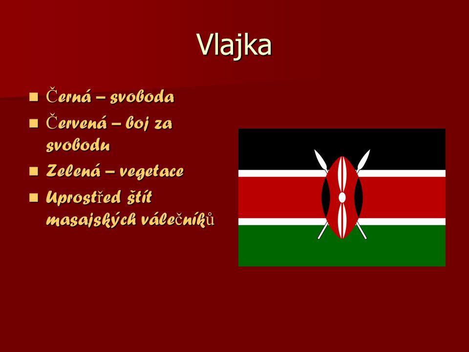 Vlajka Č erná – svoboda Č erná – svoboda Č ervená – boj za svobodu Č ervená – boj za svobodu Zelená – vegetace Zelená – vegetace Uprost ř ed štít masajských vále č ník ů Uprost ř ed štít masajských vále č ník ů