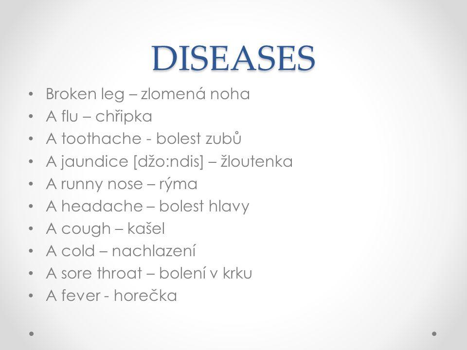 DISEASES Broken leg – zlomená noha A flu – chřipka A toothache - bolest zubů A jaundice [džo:ndis] – žloutenka A runny nose – rýma A headache – bolest hlavy A cough – kašel A cold – nachlazení A sore throat – bolení v krku A fever - horečka