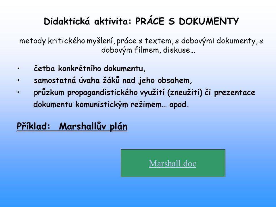 Didaktická aktivita: PRÁCE S DOKUMENTY metody kritického myšlení, práce s textem, s dobovými dokumenty, s dobovým filmem, diskuse… četba konkrétního d