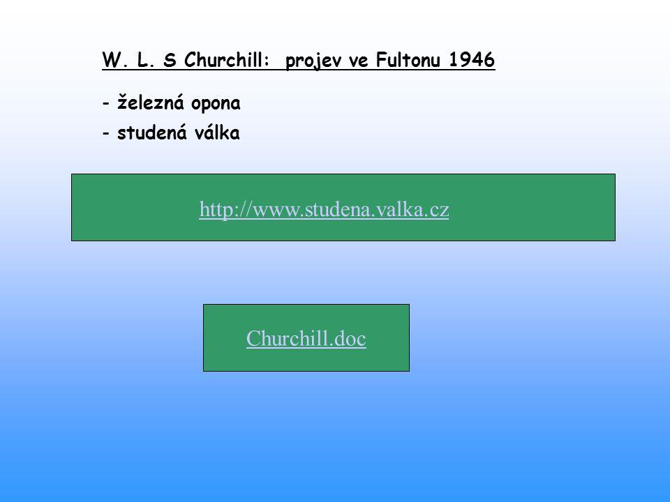 http://www.studena.valka.cz Churchill.doc W. L. S Churchill: projev ve Fultonu 1946 - železná opona - studená válka