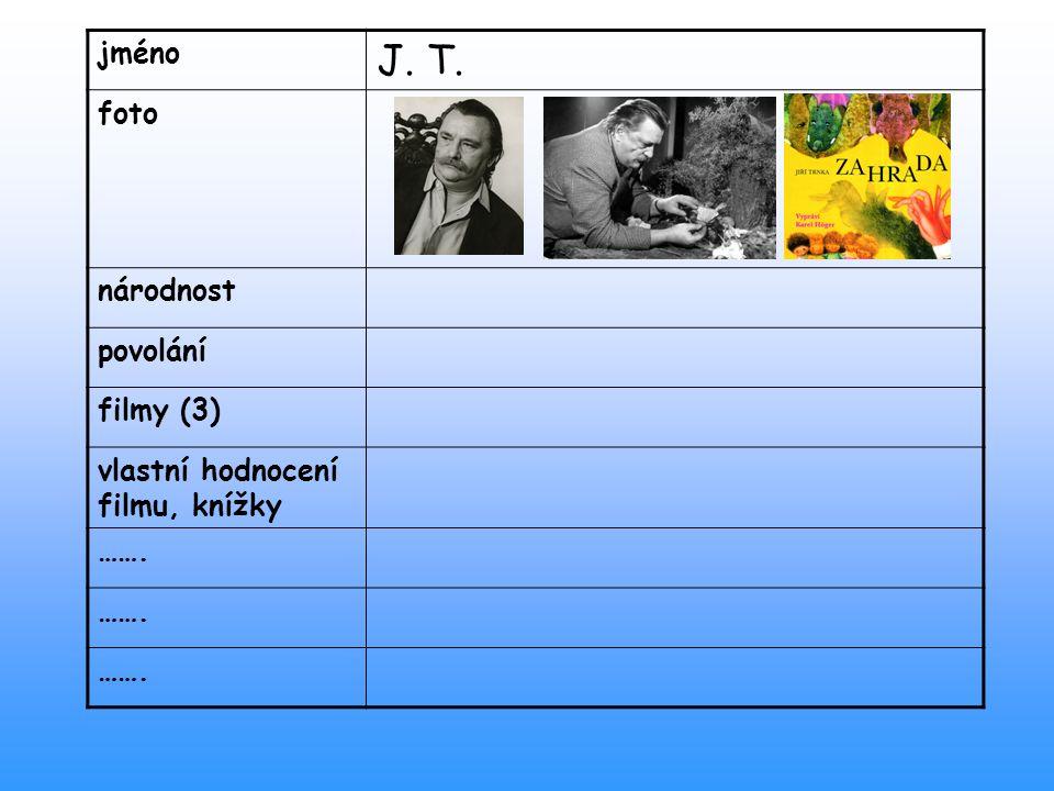 jméno J. T. foto národnost povolání filmy (3) vlastní hodnocení filmu, knížky …….