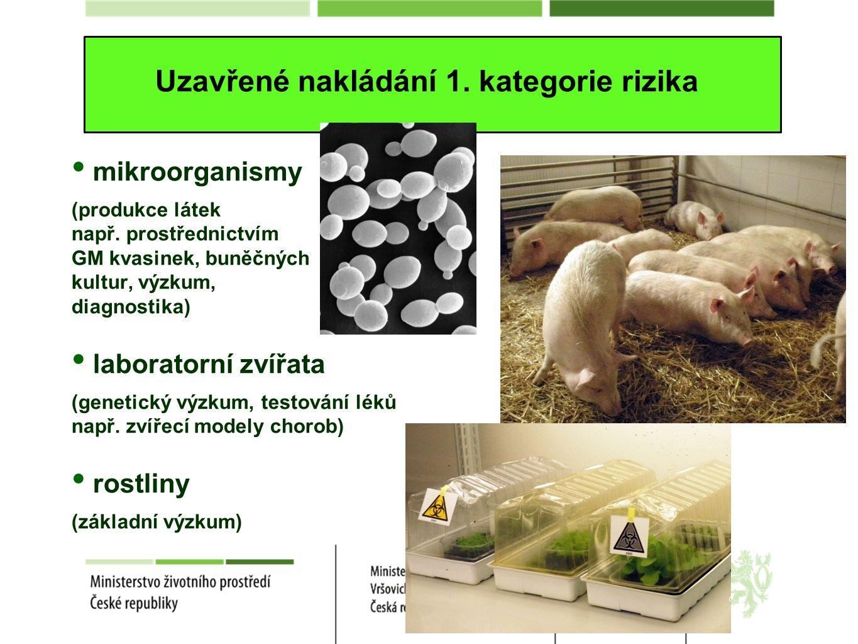 Uzavřené nakládání 1. kategorie rizika mikroorganismy (produkce látek např.