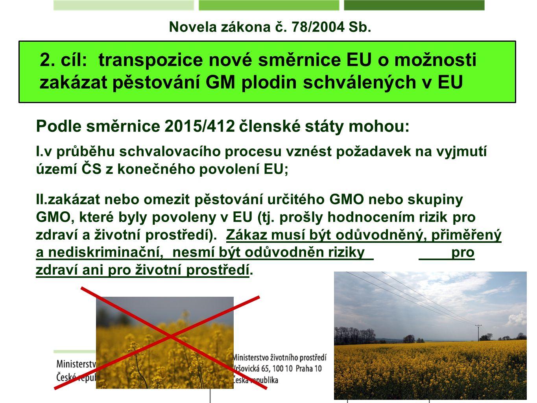 Novela zákona č. 78/2004 Sb. 2. cíl: transpozice nové směrnice EU o možnosti zakázat pěstování GM plodin schválených v EU Podle směrnice 2015/412 člen