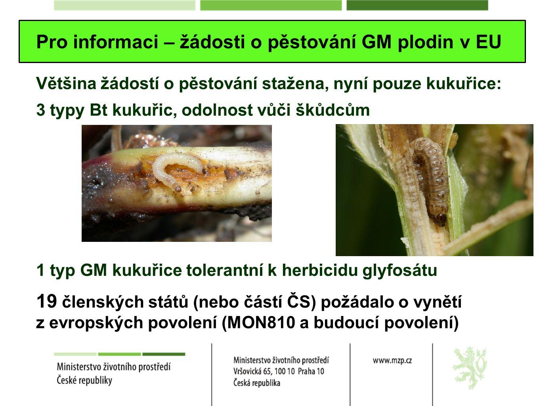 Pro informaci – žádosti o pěstování GM plodin v EU Většina žádostí o pěstování stažena, nyní pouze kukuřice: 3 typy Bt kukuřic, odolnost vůči škůdcům 1 typ GM kukuřice tolerantní k herbicidu glyfosátu 19 členských států (nebo částí ČS) požádalo o vynětí z evropských povolení (MON810 a budoucí povolení)
