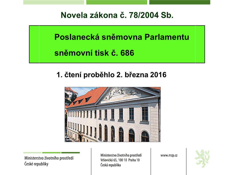 Novela zákona č. 78/2004 Sb. Poslanecká sněmovna Parlamentu sněmovní tisk č. 686 1. čtení proběhlo 2. března 2016