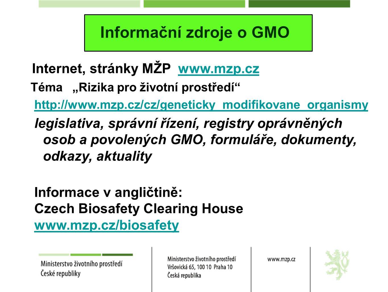 """Informační zdroje o GMO Internet, stránky MŽP www.mzp.czwww.mzp.cz Téma """"Rizika pro životní prostředí http://www.mzp.cz/cz/geneticky_modifikovane_organismy legislativa, správní řízení, registry oprávněných osob a povolených GMO, formuláře, dokumenty, odkazy, aktuality Informace v angličtině: Czech Biosafety Clearing House www.mzp.cz/biosafety"""