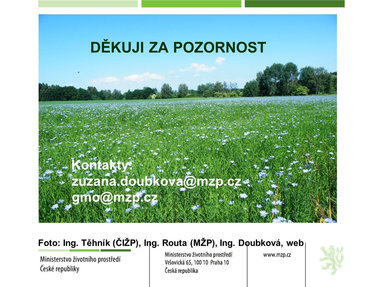DĚKUJI ZA POZORNOST Kontakty: zuzana.doubkova@mzp.cz gmo@mzp.cz Foto: Ing. Těhník (ČIŽP), Ing. Routa (MŽP), Ing. Doubková, web