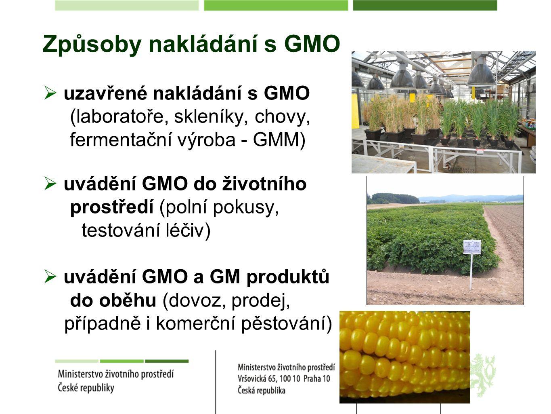 Způsoby nakládání s GMO  uzavřené nakládání s GMO (laboratoře, skleníky, chovy, fermentační výroba - GMM)  uvádění GMO do životního prostředí (polní pokusy, testování léčiv)  uvádění GMO a GM produktů do oběhu (dovoz, prodej, případně i komerční pěstování)
