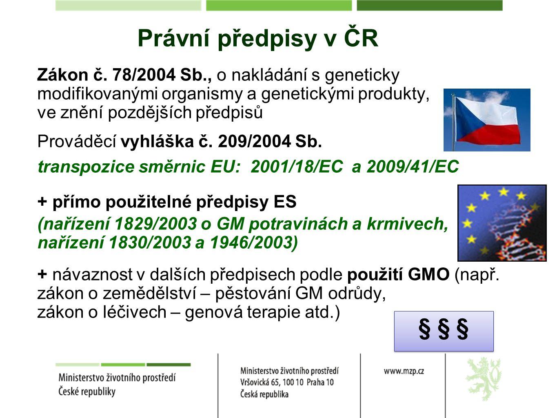 Právní předpisy v ČR Zákon č. 78/2004 Sb., o nakládání s geneticky modifikovanými organismy a genetickými produkty, ve znění pozdějších předpisů Prová