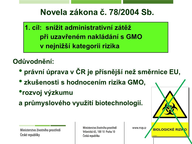 Novela zákona č. 78/2004 Sb. 1. cíl: snížit administrativní zátěž při uzavřeném nakládání s GMO v nejnižší kategorii rizika Odůvodnění: právní úprava