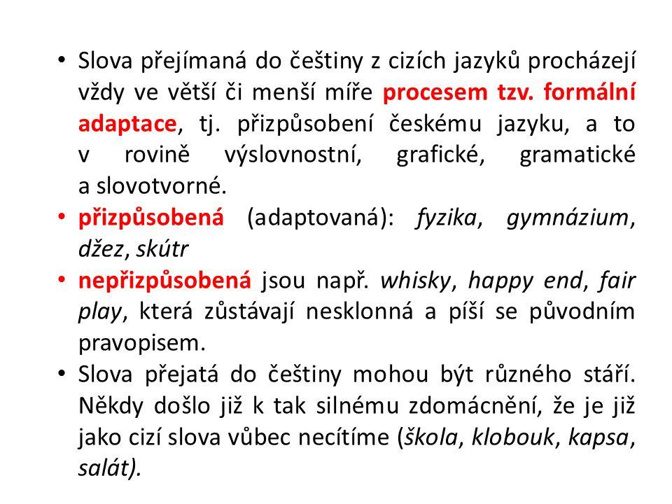 Slova přejímaná do češtiny z cizích jazyků procházejí vždy ve větší či menší míře procesem tzv. formální adaptace, tj. přizpůsobení českému jazyku, a