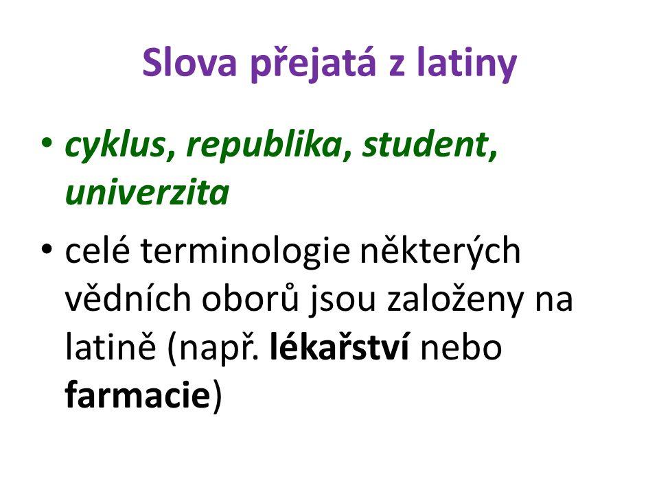 Slova přejatá z latiny cyklus, republika, student, univerzita celé terminologie některých vědních oborů jsou založeny na latině (např. lékařství nebo
