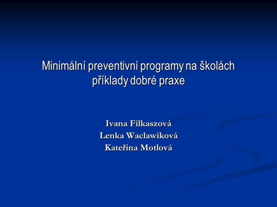 Minimální preventivní programy na školách příklady dobré praxe Ivana Filkaszová Lenka Waclawiková Kateřina Motlová