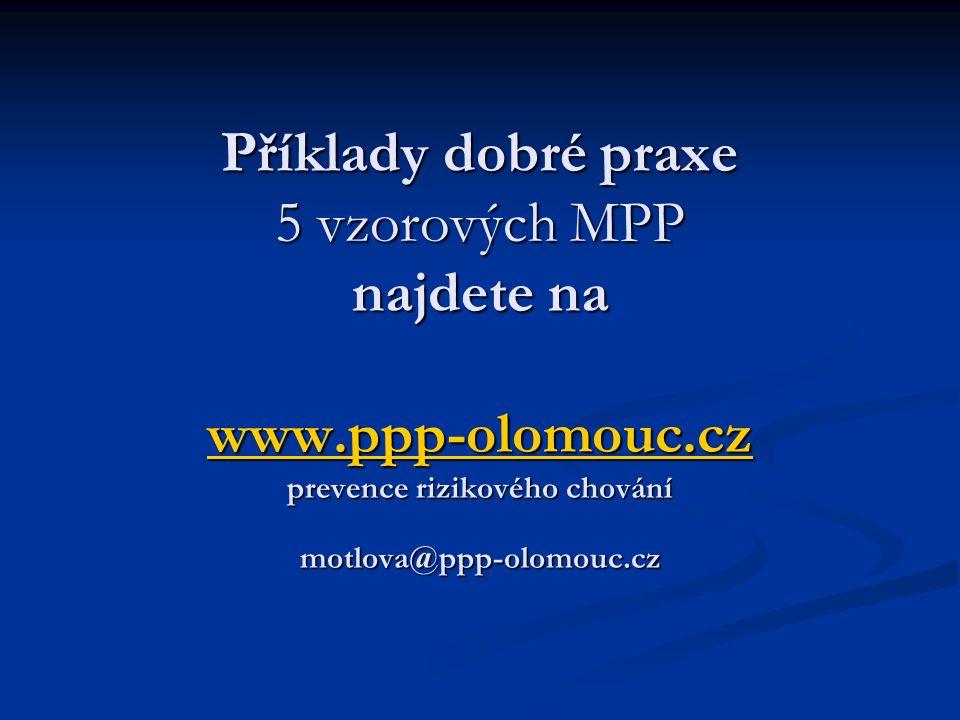 Příklady dobré praxe 5 vzorových MPP najdete na www.ppp-olomouc.cz prevence rizikového chování motlova@ppp-olomouc.cz www.ppp-olomouc.cz