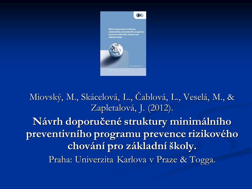 Miovský, M., Skácelová, L., Čablová, L., Veselá, M., & Zapletalová, J.