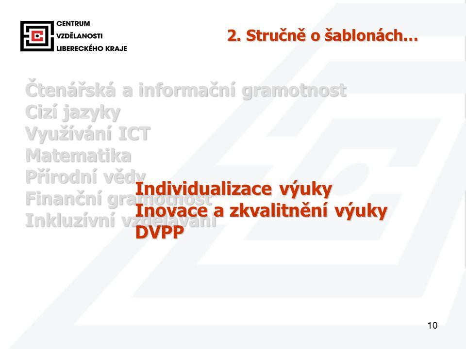 10 Čtenářská a informační gramotnost Cizí jazyky Využívání ICT Matematika Přírodní vědy Finanční gramotnost Inkluzívní vzdělávání Individualizace výuky Inovace a zkvalitnění výuky DVPP 2.