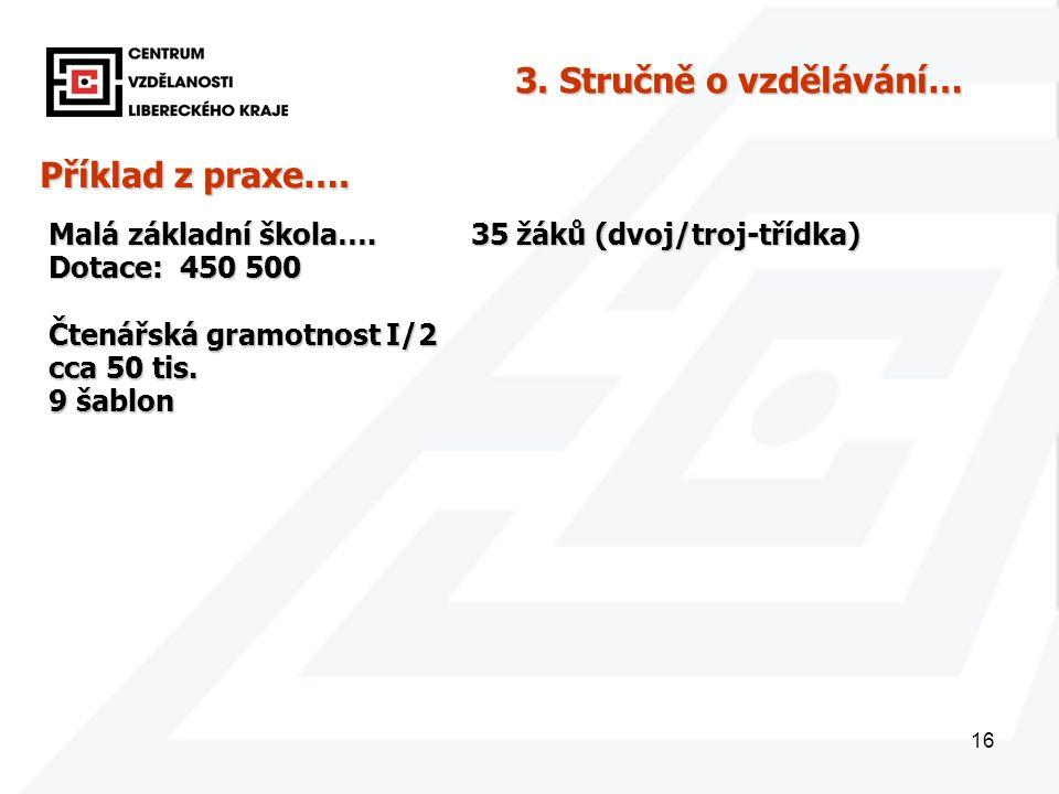16 Příklad z praxe…. Malá základní škola…. 35 žáků (dvoj/troj-třídka) Dotace: 450 500 3.
