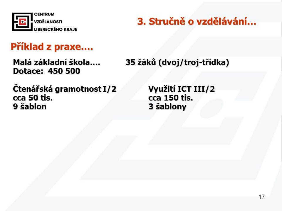 17 Příklad z praxe…. Malá základní škola…. 35 žáků (dvoj/troj-třídka) Dotace: 450 500 3.